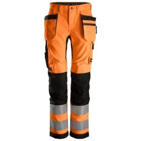 AllroundWork, Pantalon+ pour femme avec poches hoster, haute visibilité Classe 2 6730 SNICKERS 6730